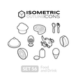 Isometric outline icons set 56 vector image vector image