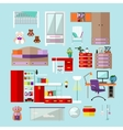 Kids bedroom interior objects in flat style vector image
