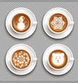 latte art cups top view vector image vector image