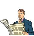 media censorship man reading a newspaper vector image