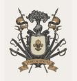 medieval heraldic coat arms in vintage style vector image