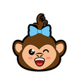 monkey kawaii cartoon vector image
