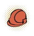 Orange safety helmet comics icon vector image
