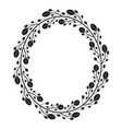 oval wreath with black and white doodle branches vector image