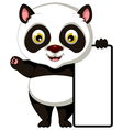 panda cartoon posing with blank sign vector image vector image