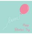 Pink oval balloon with love thread Flat design vector image vector image