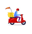 pizza guy riding scooter delivering order vector image
