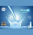 pouring water ads realistic background vector image