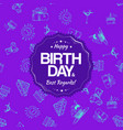 Purple birthday seamless pattern with hand drawing