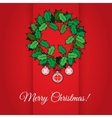 Red Christmas greeting card with holly wreath vector image