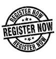 register now round grunge black stamp vector image vector image