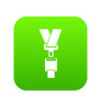 safety belt icon digital green vector image