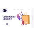 sale consumerism landing page template female vector image vector image
