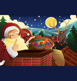 santa claus with sleigh full of christmas presents vector image