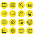 set of 16 seo icons includes coding video player vector image vector image