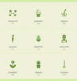 set of 9 editable planting icons includes symbols vector image vector image