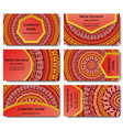 set of visiting card with mandala vector image vector image