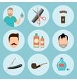 set vintage barber shop elements logo labels vector image vector image