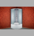 shower cabine and red brick wall bathroom vector image vector image