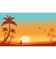 Silhouette of bird and palm landscaspe vector image vector image