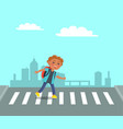 smiling boy at crosswalk on urban city background vector image vector image