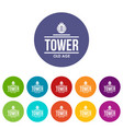 tower old age icons set color vector image vector image