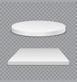 white podium round and square 3d empty podium vector image vector image