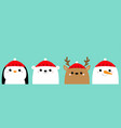 white polar bear snowman raindeer deer penguin vector image vector image