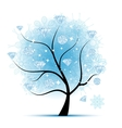 Winter tree with diamonds for your design vector image