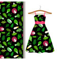 women dress fabric pattern with vegetables vector image vector image