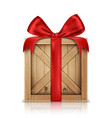 wooden box with silk red ribbon bow vector image vector image
