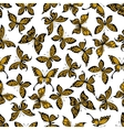 Yellow and black butterflies seamless pattern vector image vector image