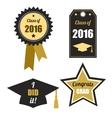 Graduation logos set Gold black Class of 2016 vector image
