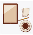 a cup of coffee pencil notes and tablet pc vector image vector image