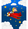 A red airplane with a boastful monkey vector image vector image