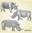 a set of realistic rhinos isolated on a light be vector image vector image