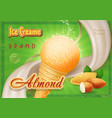 almond ice cream in the cone advertising vector image vector image