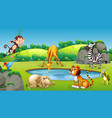 animals at nature scene vector image vector image
