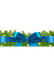blue ribbon with fir tree vector image