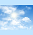 blue sky background with sun and white clouds vector image vector image