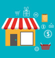 buy on line with store building vector image