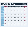 Calendar 2015 May design template vector image vector image
