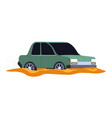 car accident vehicle stuck in mud or dirty puddle vector image