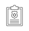clip and clipboard with police shield symbol vector image vector image
