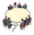 comic book bubble meeting business people vector image