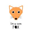 cute fox cartoon animal face funny vector image