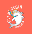cute shark for t-shirt design vector image vector image