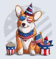 Cute welsh corgi dog sitting 4th july elements