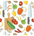 cutting board and vegetables seamless vector image vector image
