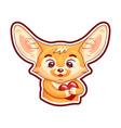 enamoured fennec fox presses paws to his breast vector image vector image